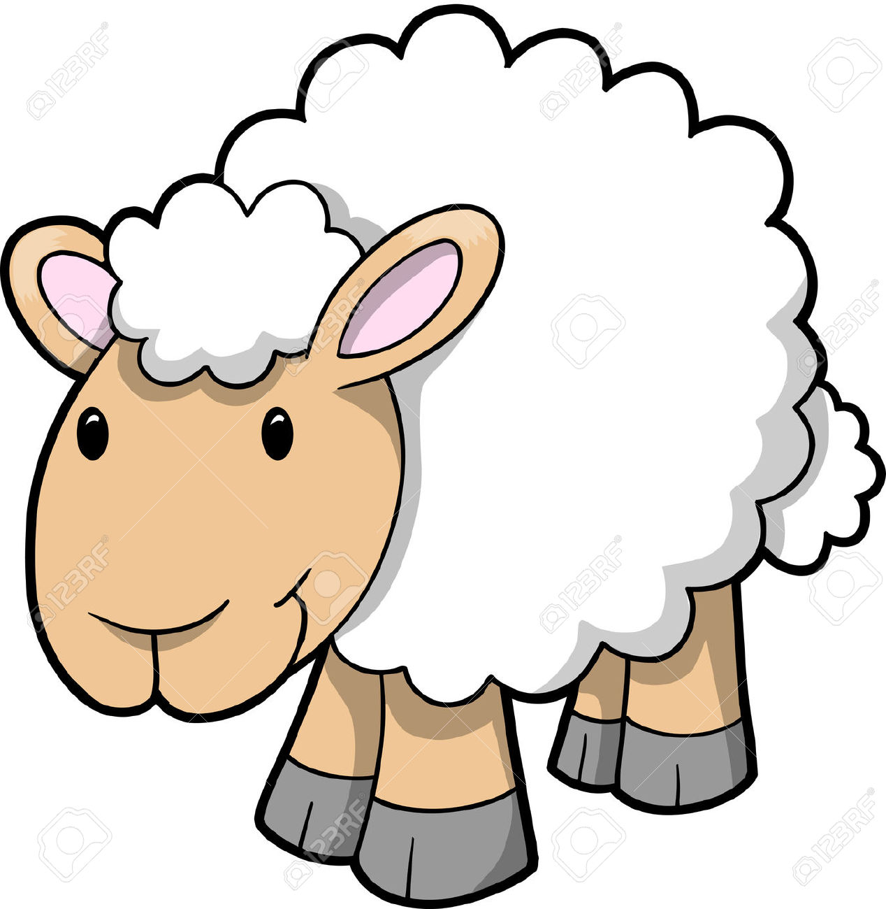 1268x1300 Of Happy Sheep Stock Vector Sheep Cartoon Lamb Id 64748 Clipart