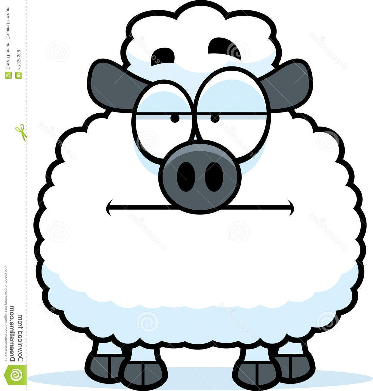 1241x1300 Best Free Bored Little Lamb Cartoon Illustration Looking Drawing