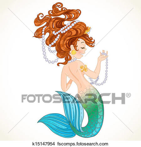 450x470 Clipart Of Cute Little Mermaid With Pearl K15147954