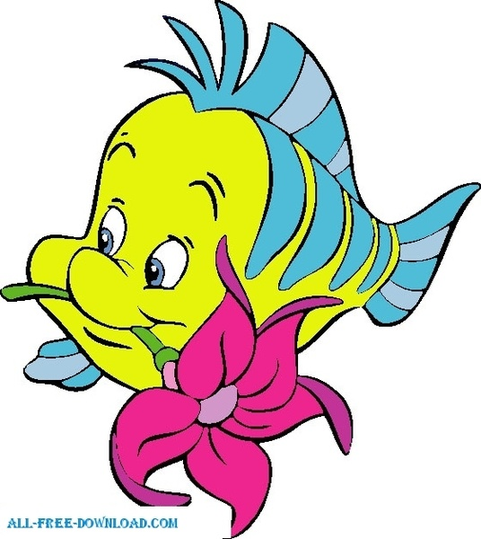 536x600 Little Mermaid Flounder 002 Free Vector In Encapsulated Postscript