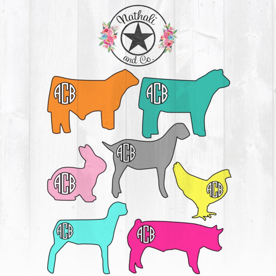 570x570 Show Livestock Animal Vinyl Decal Steer Heifer Rabbit