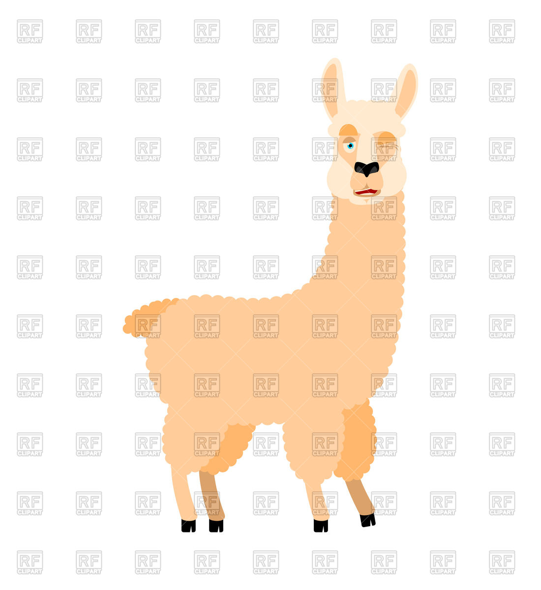 1100x1200 Cartoon Llama Alpaca Winking Royalty Free Vector Clip Art Image