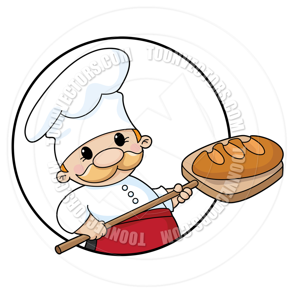 940x940 Cartoon Baker Chef With Bread Loaf By Polkan Toon Vectors Eps