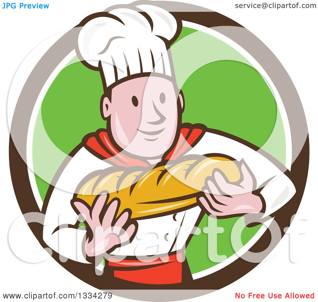1080x1024 Clipart A Cartoon Caucasian Male Chef Baker Holding A Loaf
