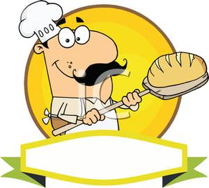 300x271 Colorful Cartoon Of Bakery Chef With Hot Loaf Of Bread On