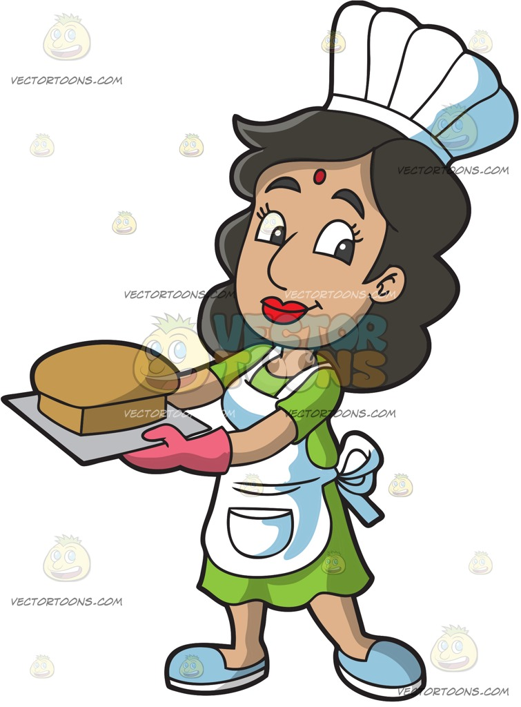 755x1024 An Indian Cook Holding A Tray With A Fresh Baked Loaf Of Bread