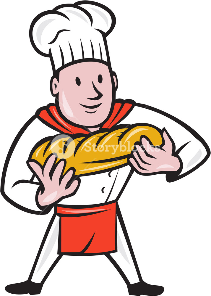 714x1000 Illustration Of A Baker Chef Cook Standing Holding Loaf Of Bread