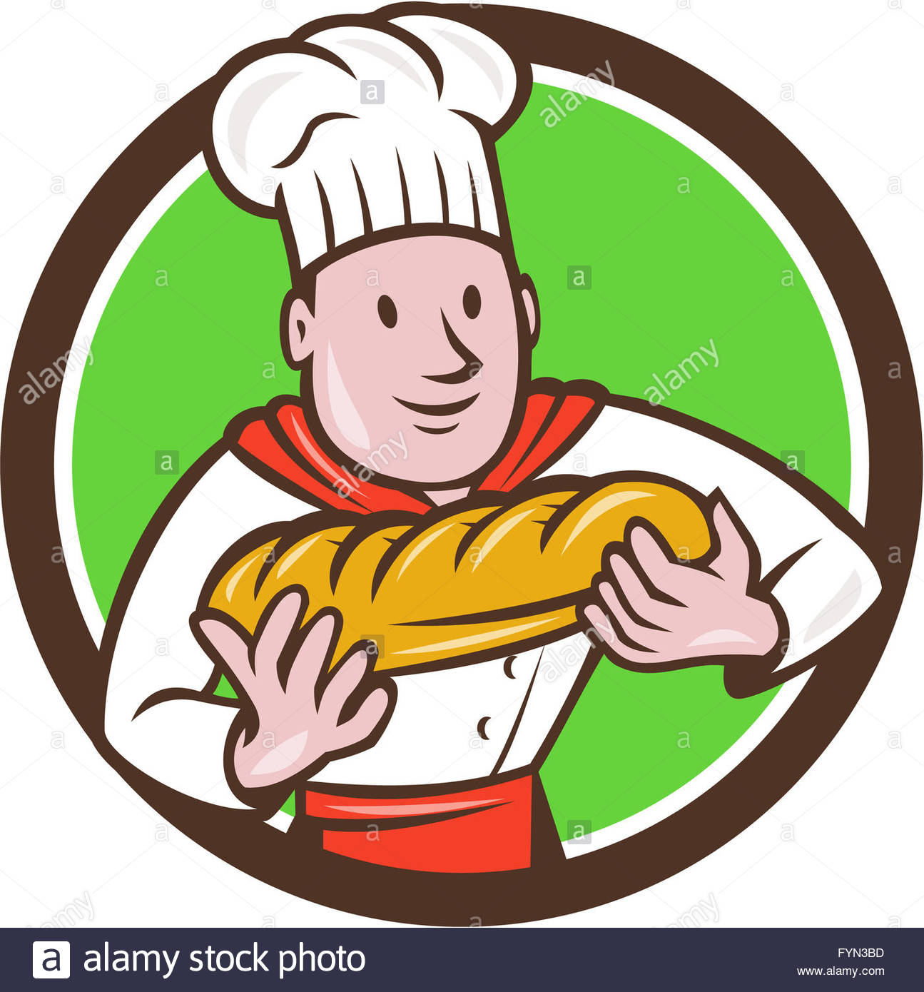 1295x1390 Baker Holding Bread Loaf Circle Cartoon Stock Photo, Royalty Free