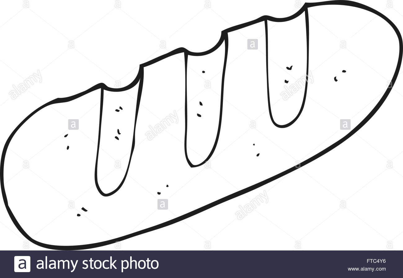 1300x898 Freehand Drawn Black And White Cartoon Loaf Of Bread Stock Vector