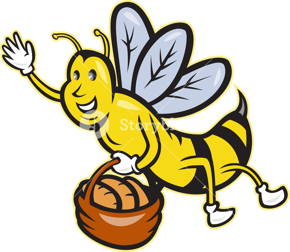 1000x869 Bee Carrying Basket Bread Loaf Cartoon Royalty Free Stock Image