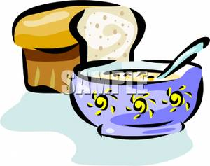 300x237 Art Image A Bowl Of Soup And A Loaf Of Bread