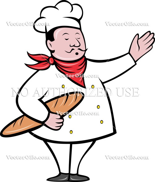 501x590 French Baker Holding Baguette Bread Loaf Royalty Free Cartoon