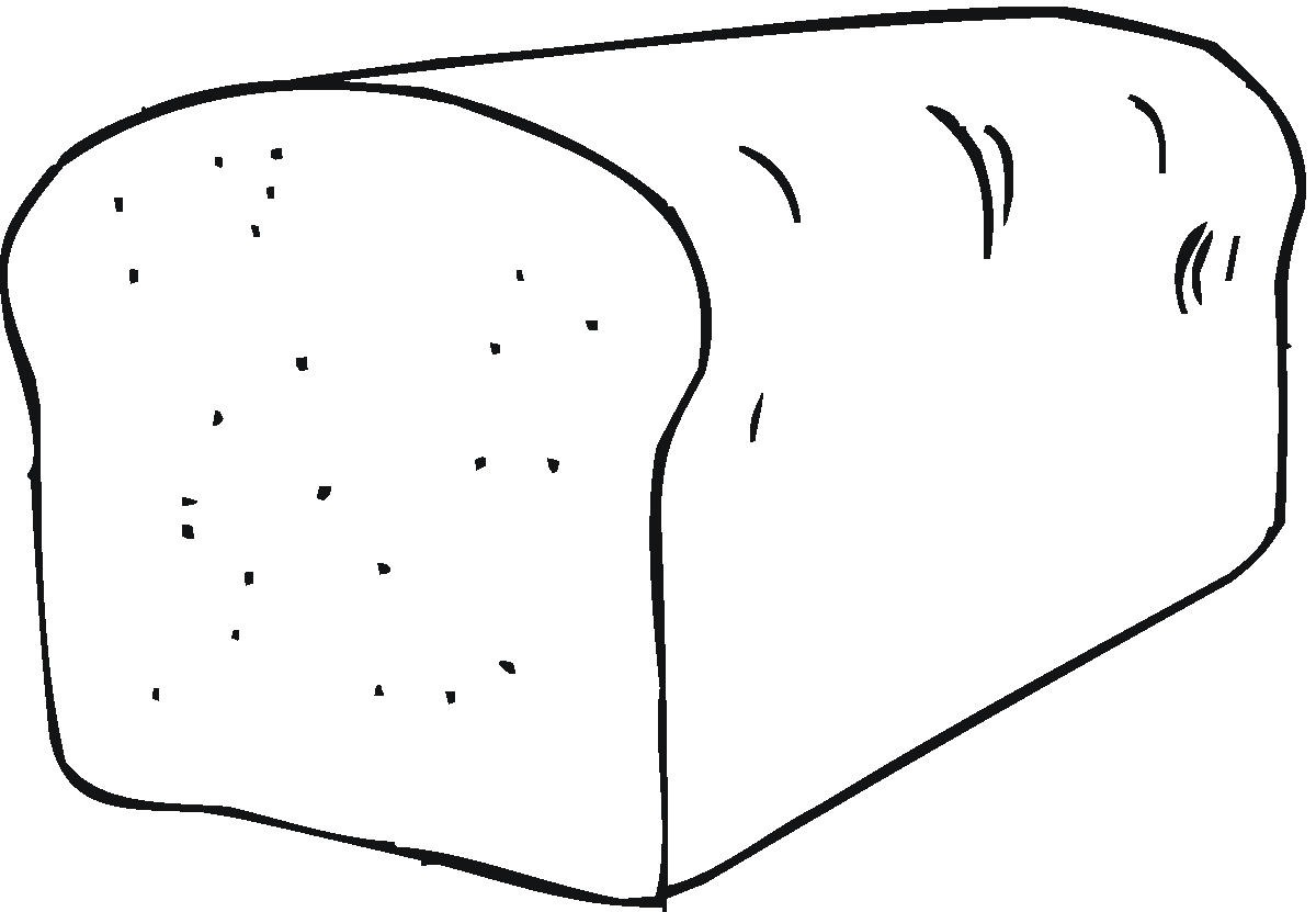 1200x831 Bread Clipart Coloring Page