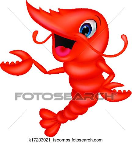 433x470 Clipart Of Cute Shrimp Cartoon Presenting K17233021