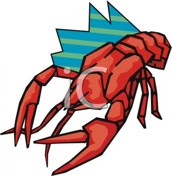 343x350 Picture Of A Cartoon Lobster In A Vector Clip Art Illustration