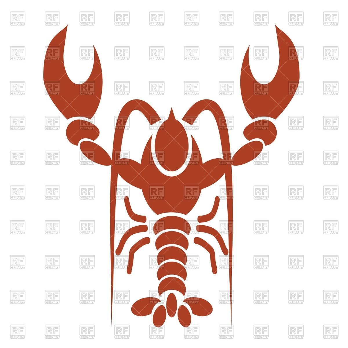 1200x1200 Silhouette Of Red Lobster Or Crawfish Royalty Free Vector Clip Art