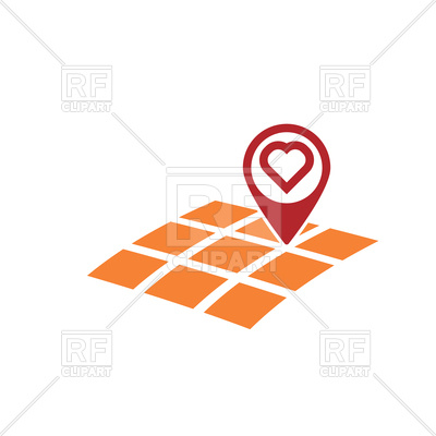 400x400 Map Gps Location With Heart Symbol Royalty Free Vector Clip Art