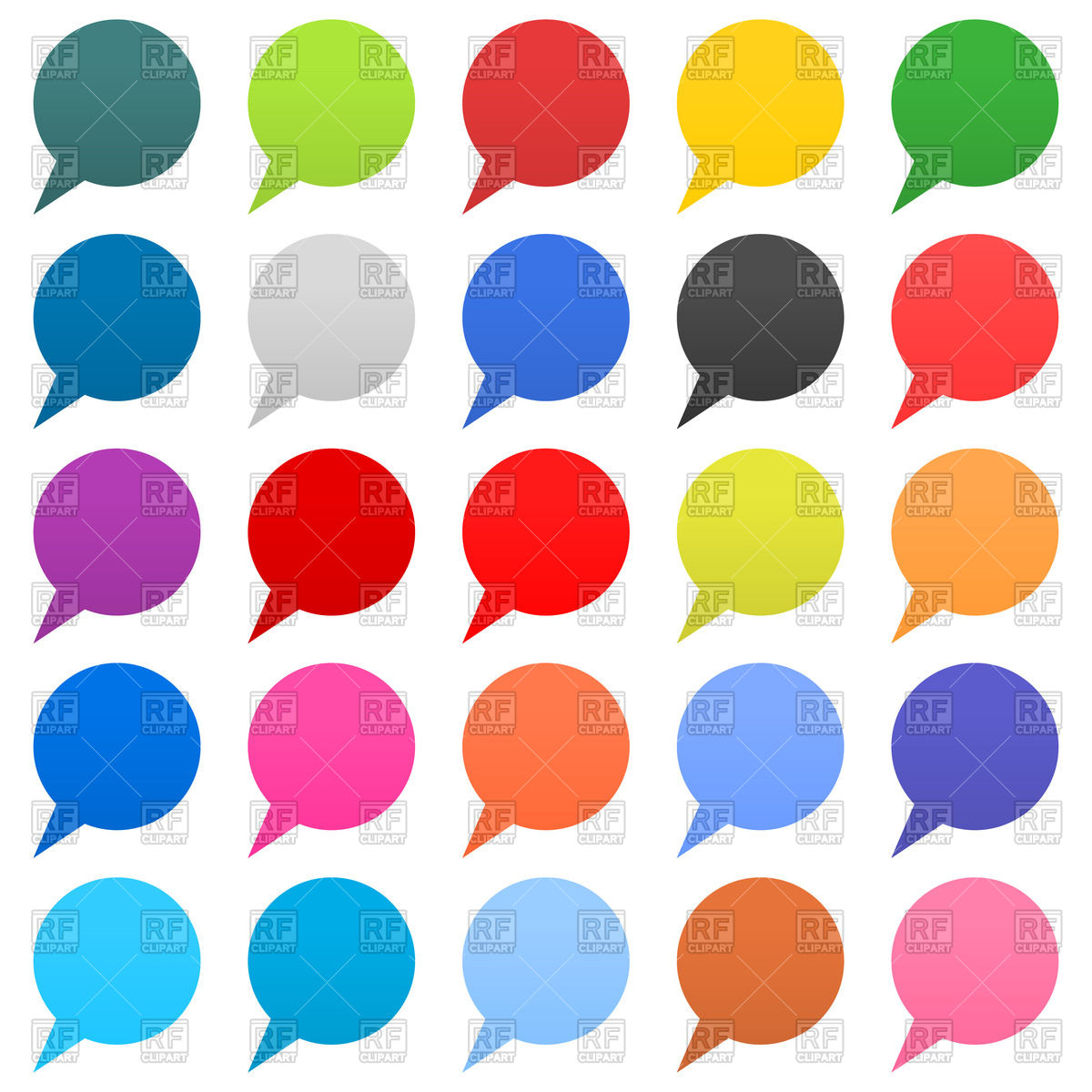 1200x1200 Set Of Variegated Round Speech Bubbles (Location Markers) Royalty