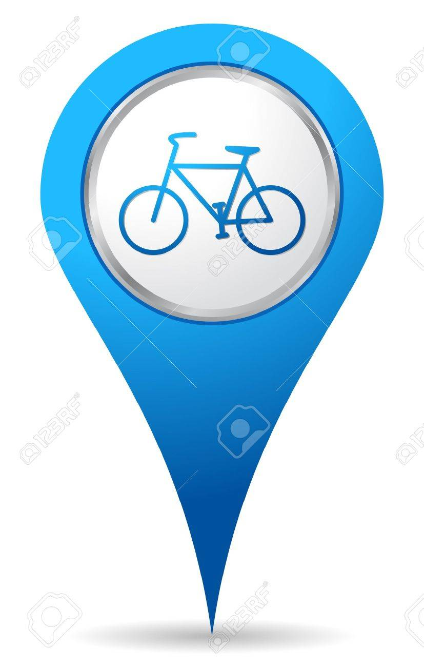 827x1300 Blue Bike Location Icon Royalty Free Cliparts, Vectors, And Stock