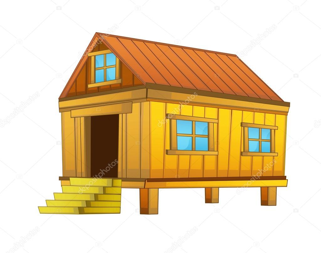 1024x807 Cartoon Wooden Farm House