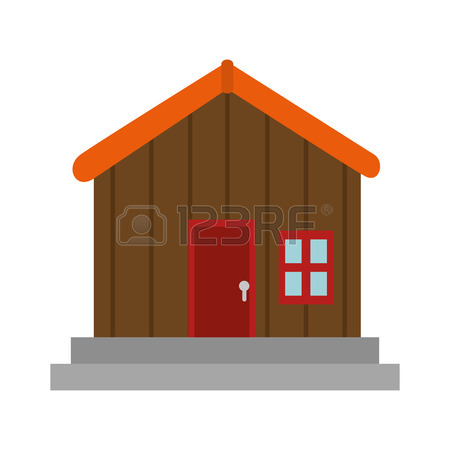 450x450 Log Cabin House Shape Icon Silhouette Vector Illustration. Vector