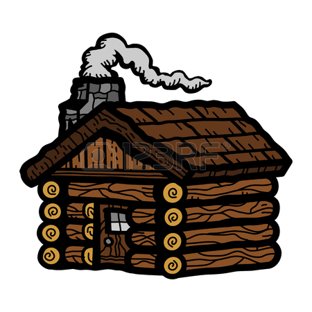 450x450 Log Cabin. Wooden House With Orange Roof And Red Doors Windows