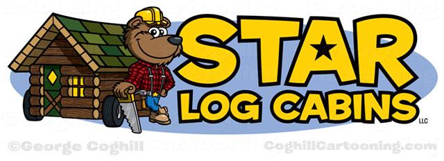 640x232 Lumberjack Bear Amp Log Cabin Cartoon Logo