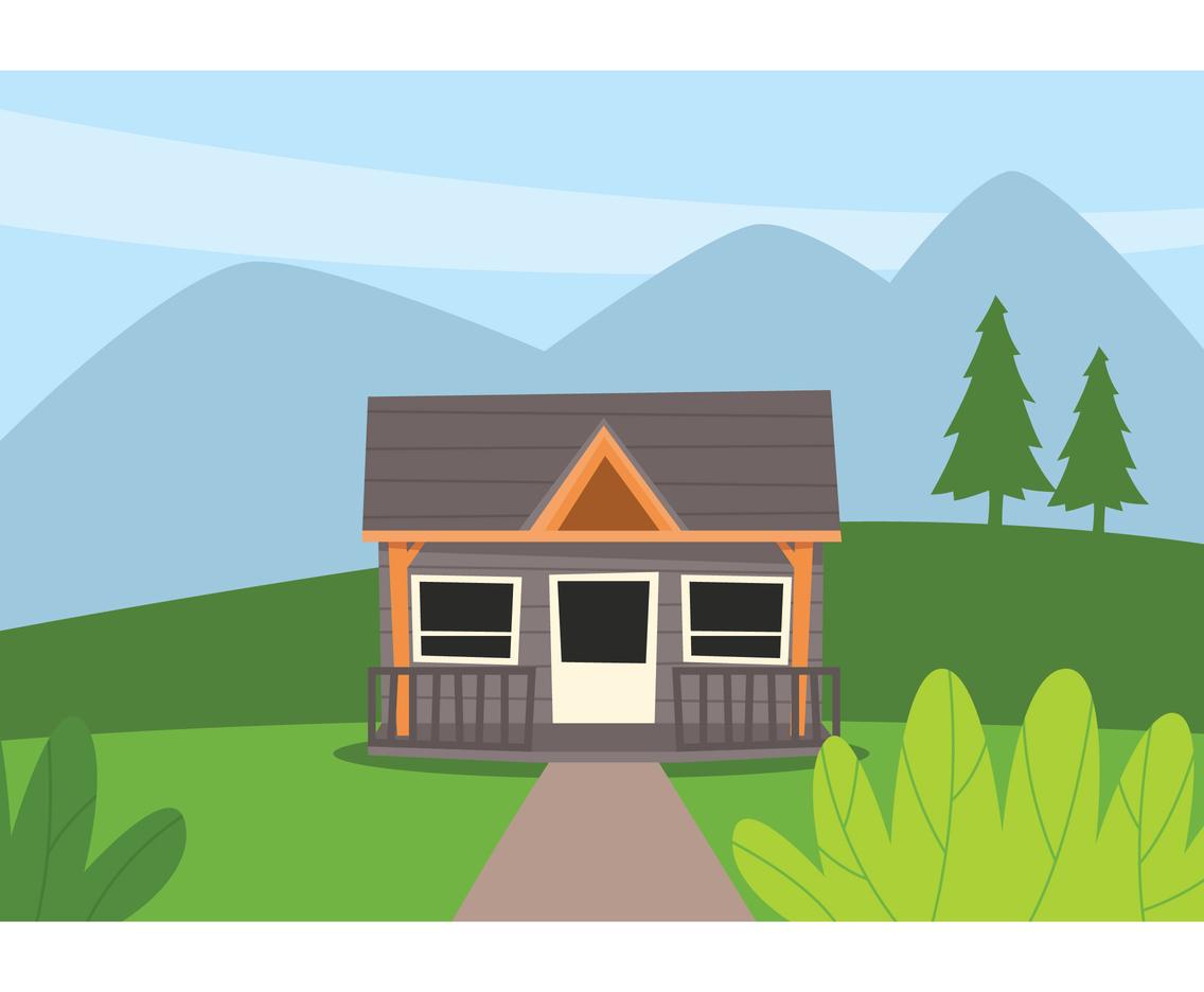 1136x936 Cabin Landscape Illustration Vector Art Amp Graphics