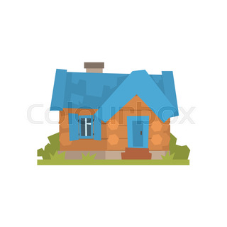 320x320 Rustic Wooden Log Cabin In Cartoon Style With Smoking Chimney