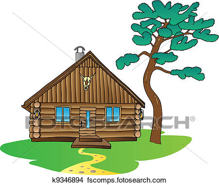 450x379 Log Cabin Clip Art Royalty Free. 342 Log Cabin Clipart Vector Eps