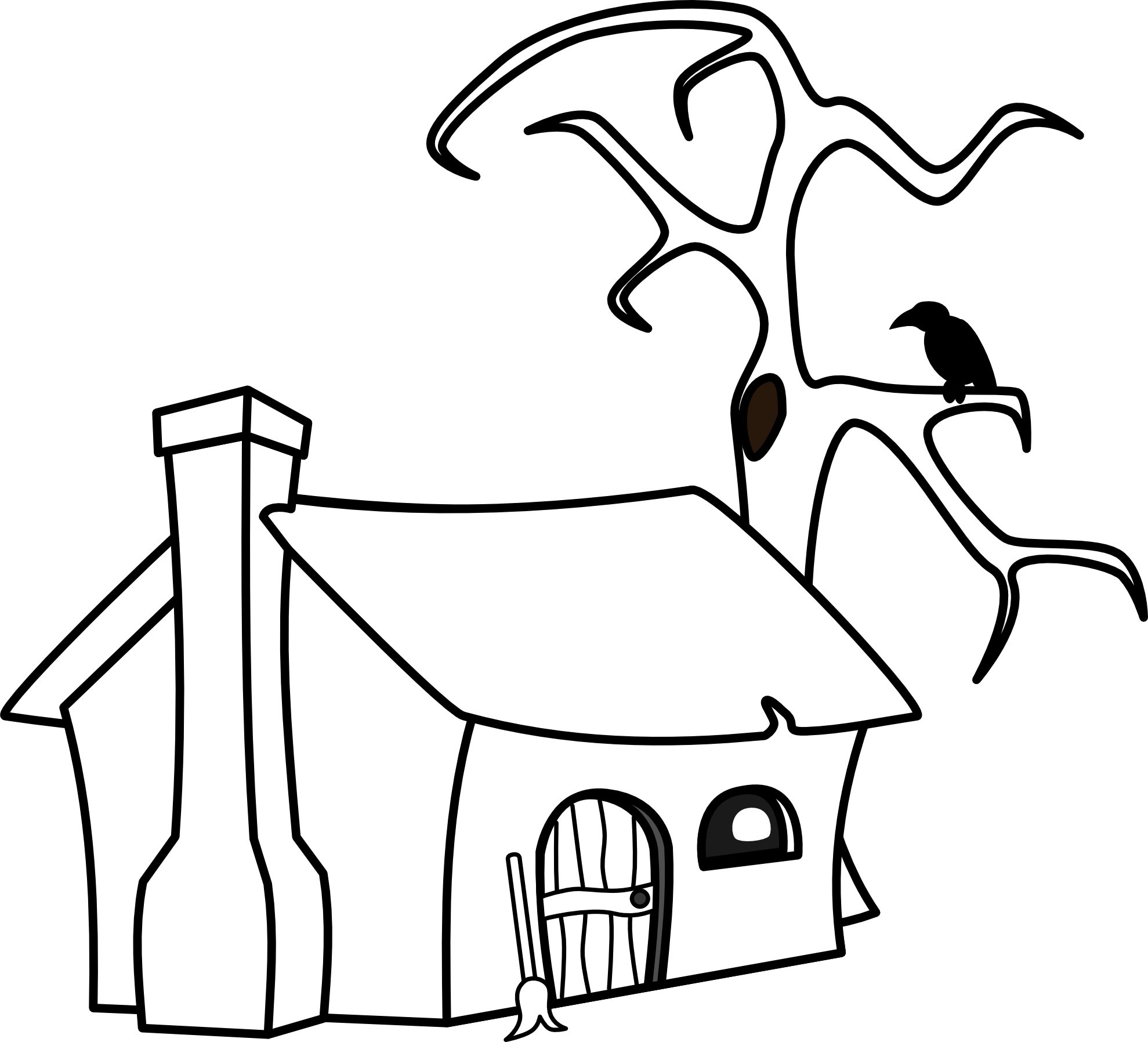 1979x1796 Cottage Clipart Black And White