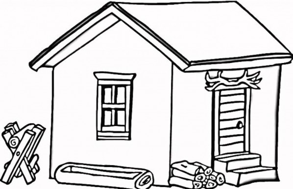 598x387 Cabin Clipart Black And White