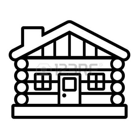 450x450 Cabin Clipart Outline