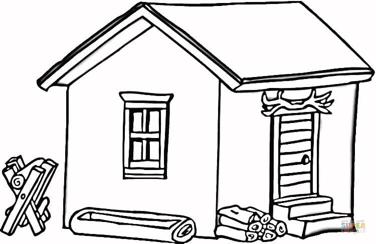 750x488 Log Cabin In Wood Coloring Page Free Printable Coloring Pages