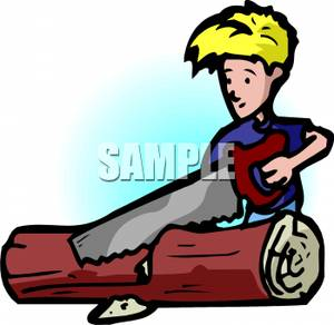 300x292 Art Image A Boy Sawing A Log In Half