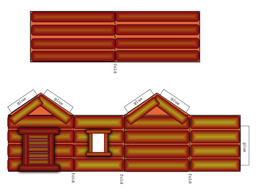 500x378 Free Printables Log Cabin To Cut, Fold And Build. Educational