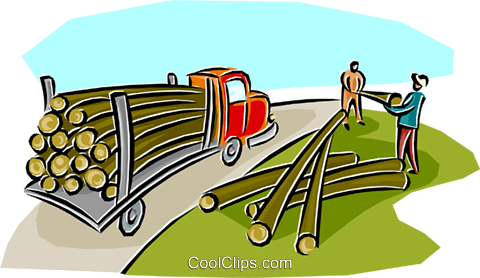 480x278 Lumber Being Loaded Onto A Transport Royalty Free Vector Clip Art