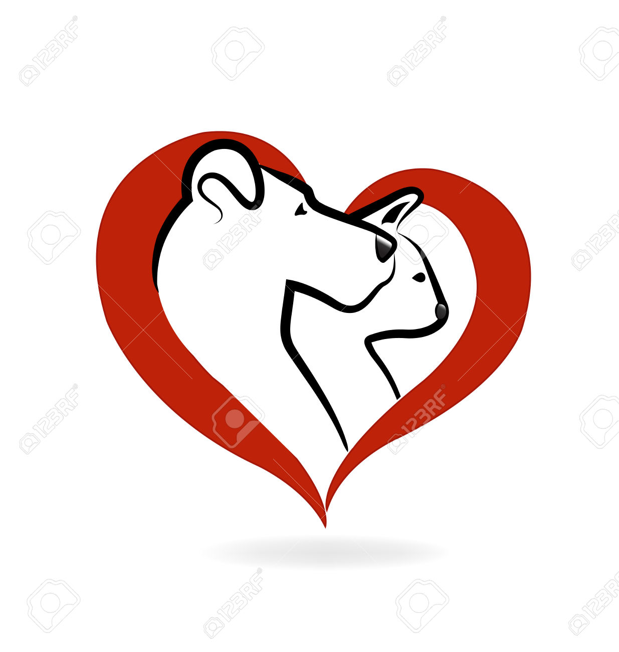1235x1300 Cat And Dog Logo Heart Love Icon Vector Design Royalty Free