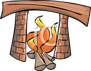 300x234 Burning Logs In A Fireplace Clip Art Image