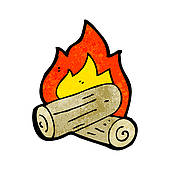 170x170 Clip Art Of Cartoon Burning Wood Logs K15536259