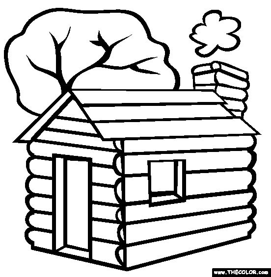 552x565 Wooden House Log Cabin Coloring Ubdab Happy Log Cabin Day