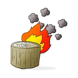 300x300 Freehand Drawn Black And White Cartoon Burning Logs Royalty Free