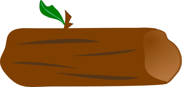 600x289 Brown Log With Green Leaf Clip Art