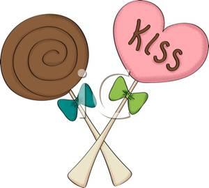 300x270 Chocolate Swirl Lollipop with a Pink Heart Lollipop Clip Art Image