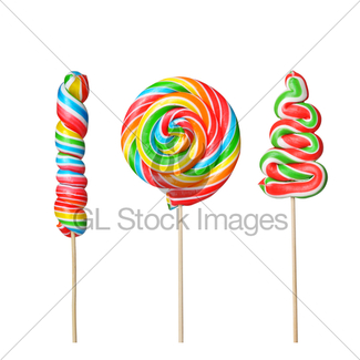 325x325 Rainbow Twirl Lollipop Candies Gl Stock Images
