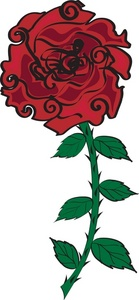 139x300 Red Rose Clipart Image