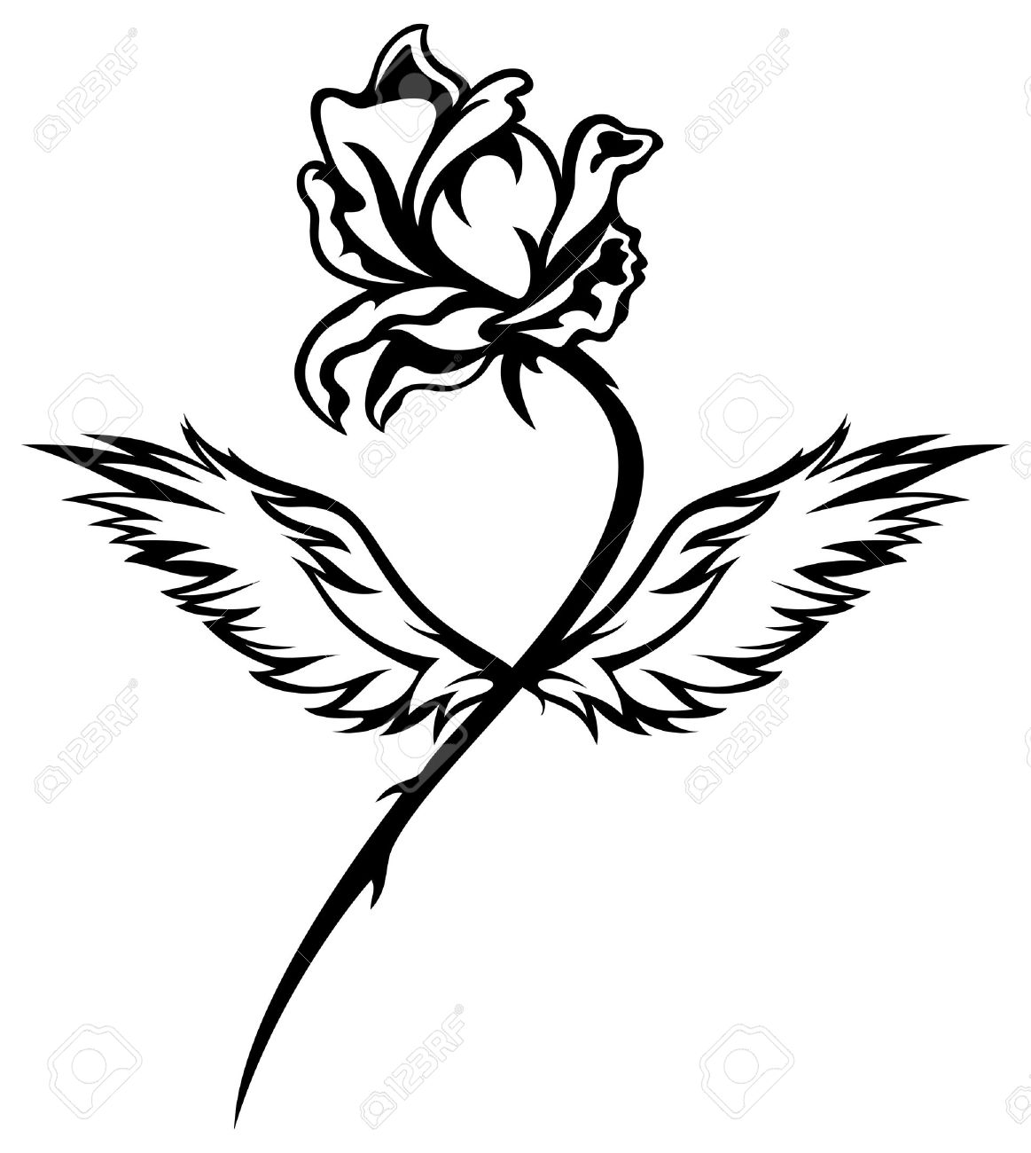 1163x1300 Romantic Winged Rose Black And White Vector Illustration Royalty