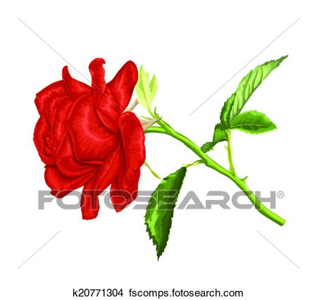 450x426 Clipart Of Beautiful Red Rose With Long Stem And Leaves Isolated