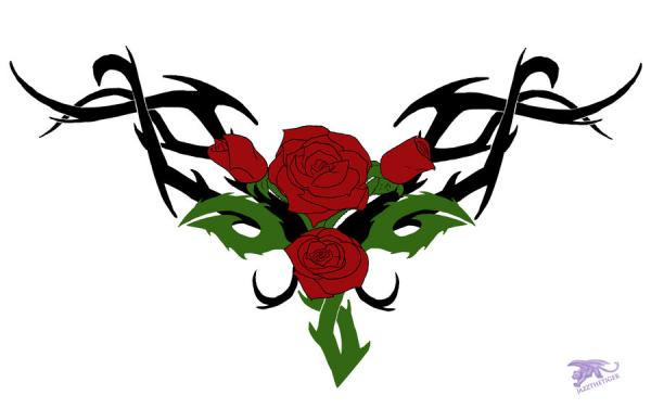 Long Stem Rose Tattoos Clipart