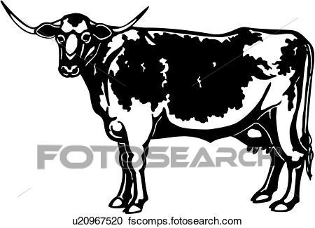 450x325 Clipart Of , Animal, Breeds, Bull, Cattle, Farm, Livestock